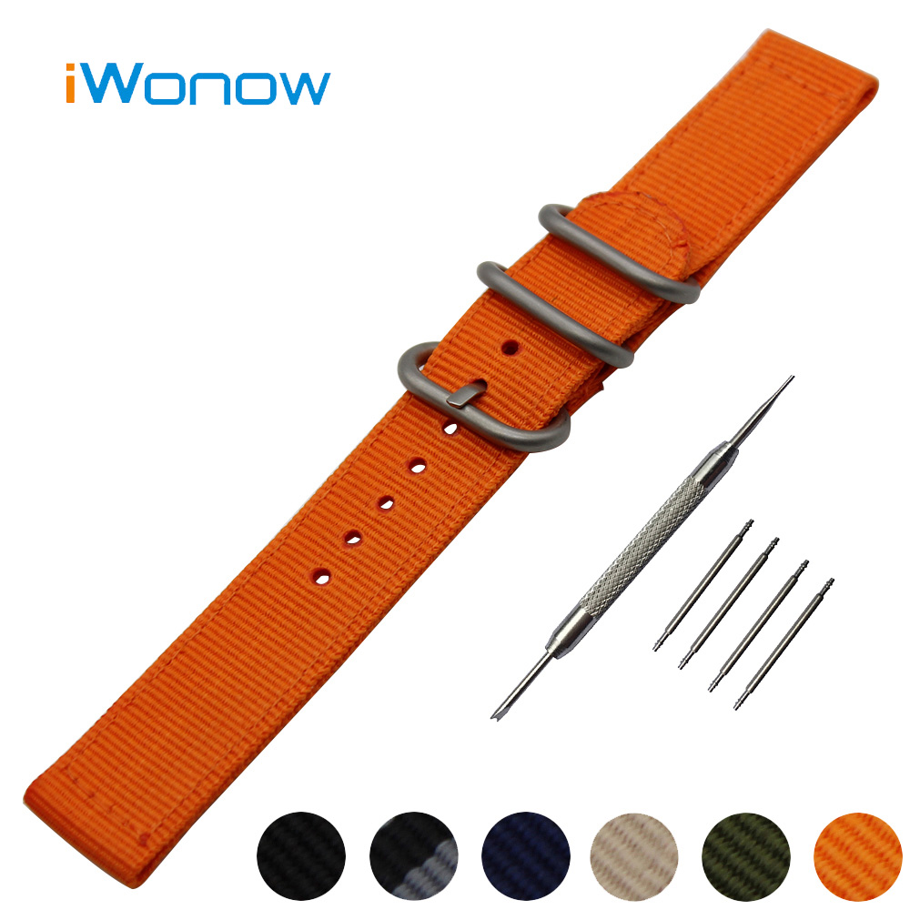 Nylon Watch Band 22mm for Pebble Time / Steel Stainless Pin Buckle Strap Wrist Belt Bracelet Black Blue + Spring Bar + Tool 24mm nylon watchband for suunto traverse watch band zulu strap fabric wrist belt bracelet black blue brown tool spring bars