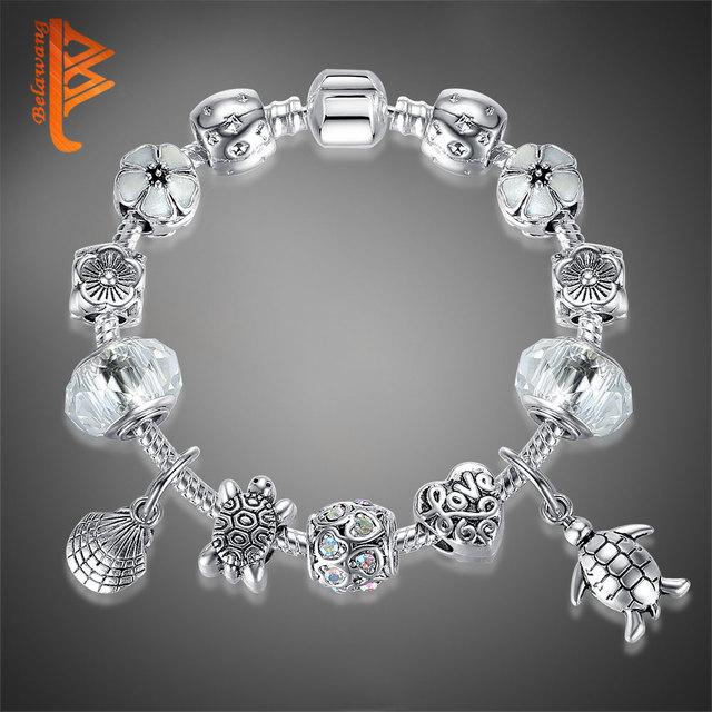 Classic Silver Color Cute Tortoise Animal Shell Beads Bracelet Glass Flowers Heart Charm Bracelet For Women Original Jewelry