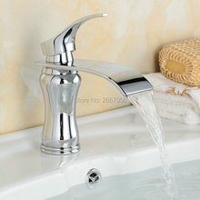 Free Shipping Big Spout Sliver Color Faucet Deck Mounted Waterfall Basin Faucets Bathroom Hot and Cold Water Mixer Taps ZR619