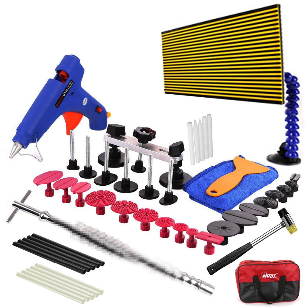 48pcs WHDZ Auto Body Paintless Dent Removal Tools Kit LED Reflect Light Board Dent Lifter Bridge Puller Set For Car Hail Damage pdr tools dent removal car dent repair led lamp reflector board led light reflection board with adjustable holder