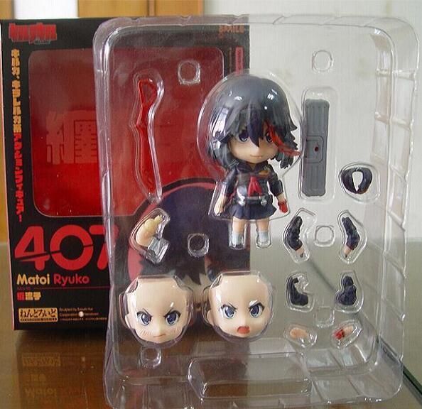with box  KILL la KILL figure Matoi Ryuuko #407 Nendoroid PVC Action Figures Toy Model 4 1