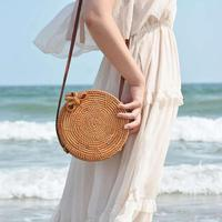 New Women Coin Purse Round Rattan Woven Bag Star Pattern Bow Buckle Hand woven Wallet Bag Shoulder Straw Bag For Travel Holiday