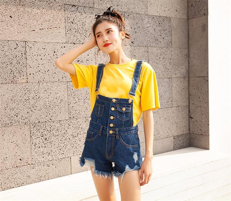 CbuCyi Women Playsuit Denim Rompers Womens Jumpsuits Hole Korean Short Playsuits Cotton Denim Tracksuits Combinaison Short Femme (8)
