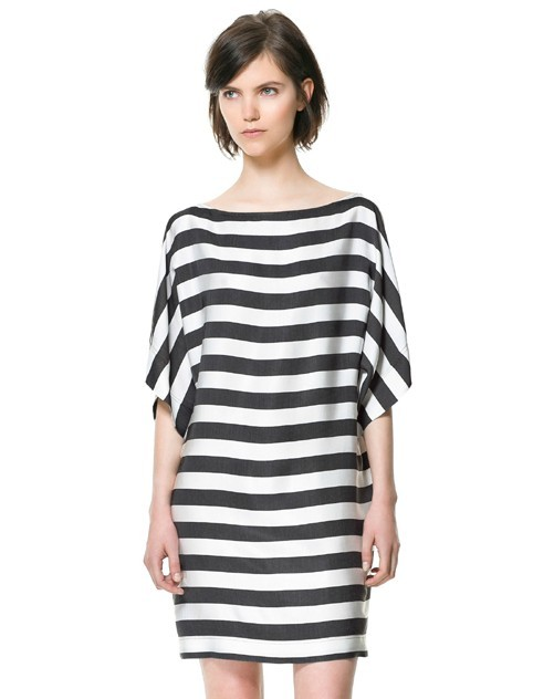 3ac04ad47db Summer Dresses for Women 2013 Loose black and white striped short-sleeve  one-piece dress Plus size Casual Dresses Free Shipping