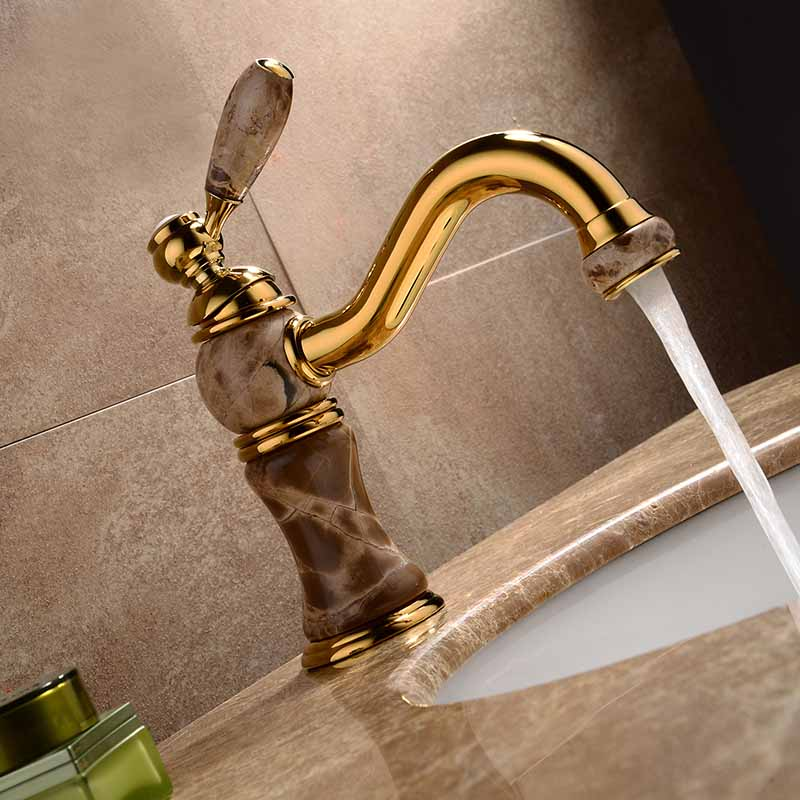 Bathroom Sink Faucets Gold Color Marble Porcelain Single Hole Deck Mounted Waterfall Hot and Cold Water Mixer Taps MPDK006 flg multiple choices bath mat gold bathroom faucets deck mounted bird robinet cold