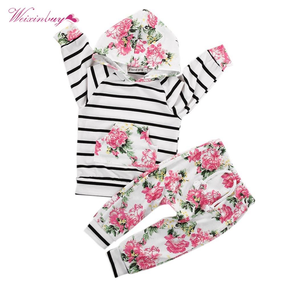 WEIXINBUY Baby Boys Girls Flower Stripe Long Sleeve One Piece Cap Set Baby Fashion Print Pullover Sets 0-18M