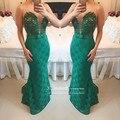 Elegante Verde de Encaje Madre De Los Vestidos de Novia 2017 Sheer Perlas de Tul Ilusión Volver Vestido de Noche Formal del Banquete de Boda