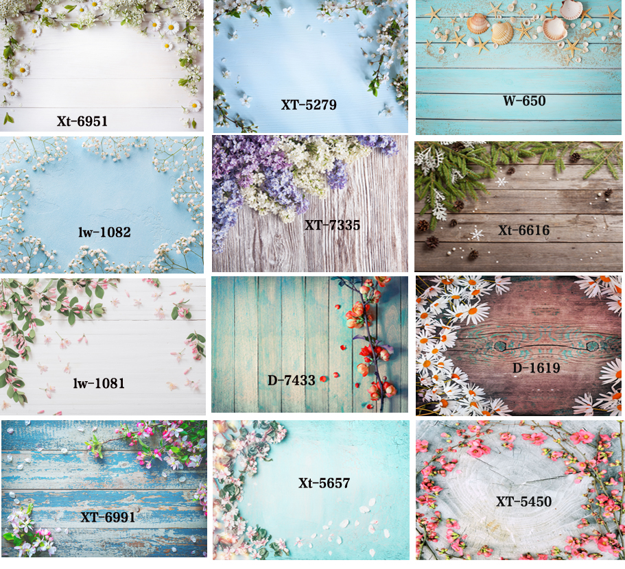 Flower Wood And Wooden Floor Backdrop Newborn Photography Props  Photo Background Studio  Product Photography Props