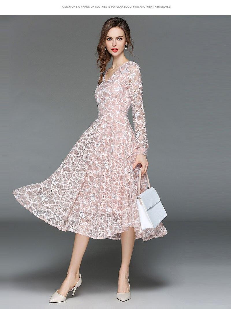 Borisovich Women Casual Lace Dress New 18 Autumn Fashion Long Sleeve V-neck Elegant Slim A-line Women's Party Dresses M398 5
