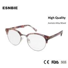 ESNBIE Fashion Rivet Semi Rimless Glasses For Women Retro Half Frame Glasses Men Eyeglasses Optical Frame Oculos Femininos Gafas цена