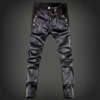 High Quality Spring Autumn Fashion HIP HOP Men PU Leather Pants Zipper Sweatpants Skinny Motorcycle Joggers Casual Trouser Jeans high quality spring