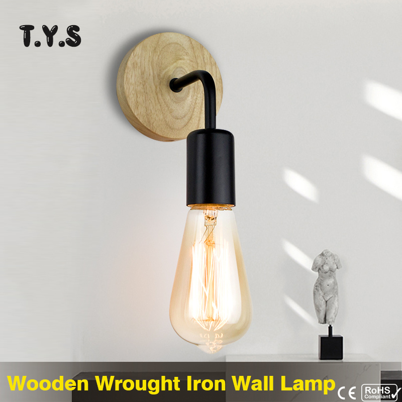 Industrial Loft Wall Lamp Wood Vintage Retro Decor Wall Lights Fixtures For Living Room Home Indoor Sconces Lighting Decorative(China)
