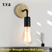 Industrial Loft Wall Lamp Wood Vintage Retro Decor Wall Lights Fixtures For Living Room Home Indoor Sconces Lighting Decorative