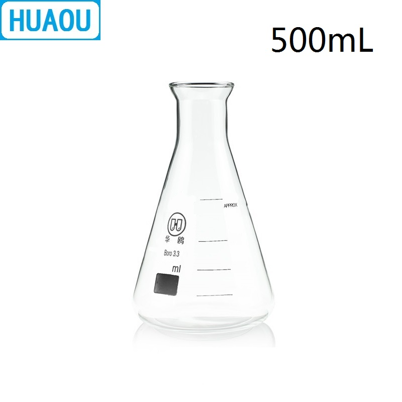 HUAOU 500mL Erlenmeyer Flask Open Horn Bell Mouth Narrow Neck Borosilicate 3.3 Glass Conical Triangle With Graduaition