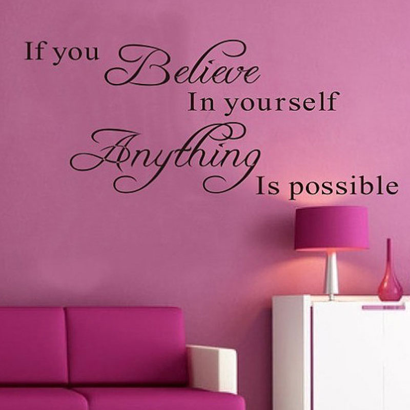 Motivating Quotes Inspirational DIY Art Removable Wall Sticker Bedroom Decal Home Decoration Door Wall Stickers Believe Yourself