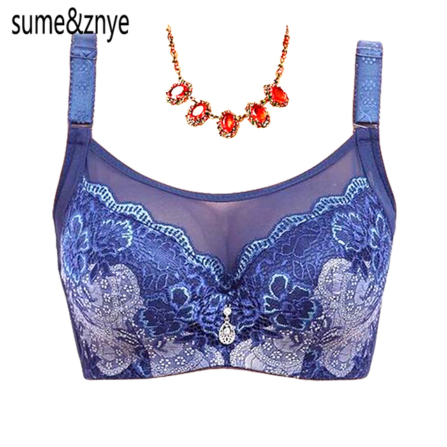 Female intimate underwear Solid push up Bra big large size lace bras plus size black red blue bras for women 90 95 100 C D Cup