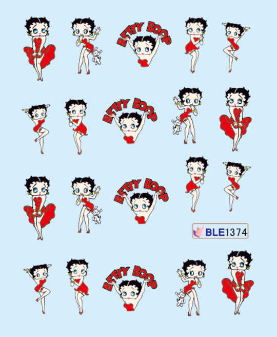 1 Sheet Nail Sticker BLE1374 Red Cartoon Betty Boop Nail Art Water Transfer Sticker Decal Sticker For Nail Wraps