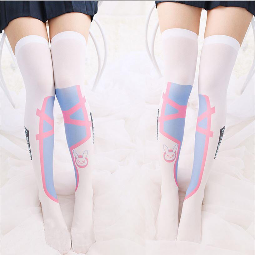 1 par de meias calça de verão fina de cosplay OW D.va, garotas kawaii, meias calça sob o joelho coxa alta amável de jogos comfortável
