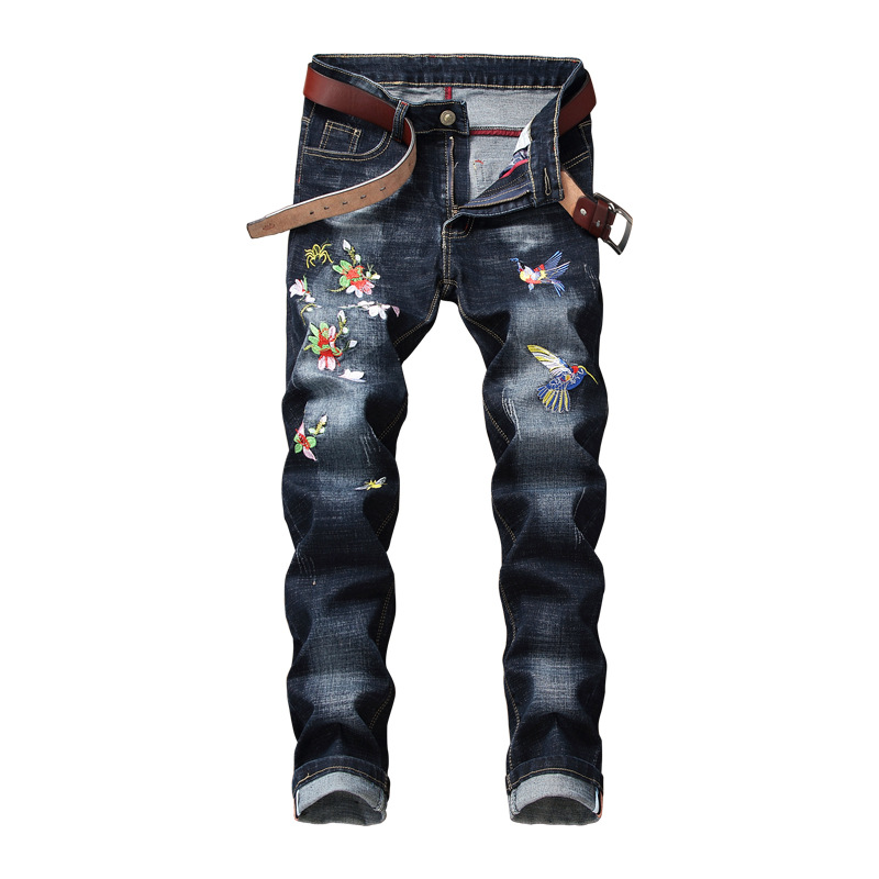 QMGOOD Luxury Mens Embroidery Skinny Jeans Ripped Hole Jeans Male Slim Fit Straight Denim Men Jeans Full Length Chic Streetwear