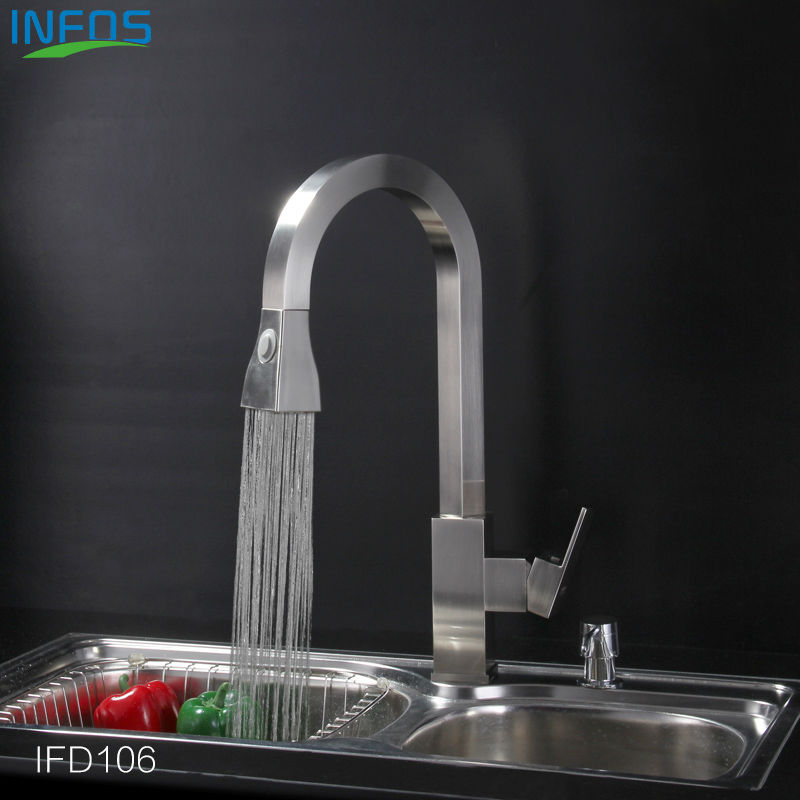 INFOS Brass Spray Rotary Kitchen Mixer Brushed Pull Out Sink Faucet Deck Mounted Hot And Cold Water Tap grifo osmosis IFD106 hpb brass pull out spray rotary brushed kitchen faucet sink mixer tap single handle deck mounted hot and cold water hp4114