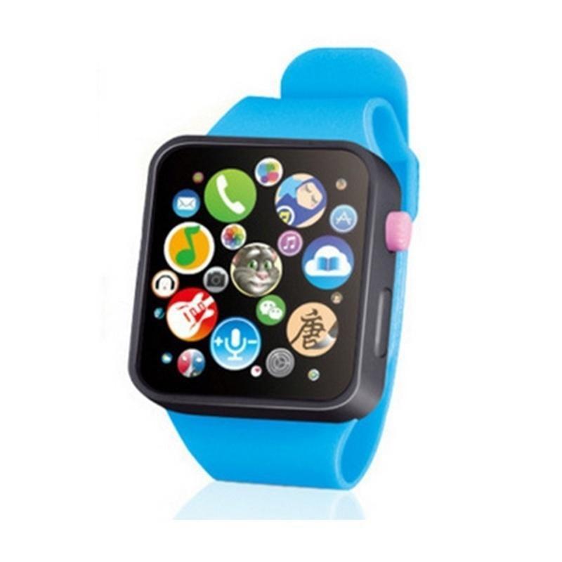 Детские Игрушки для раннего образования, наручные часы, 3D сенсорный экран, музыкальное умное обучение, горячая Распродажа, подарки на день рождения, 3 цвета - Цвет: Синий