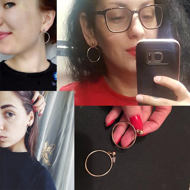 Punk Style Geometric Round Circle Stud Earrings