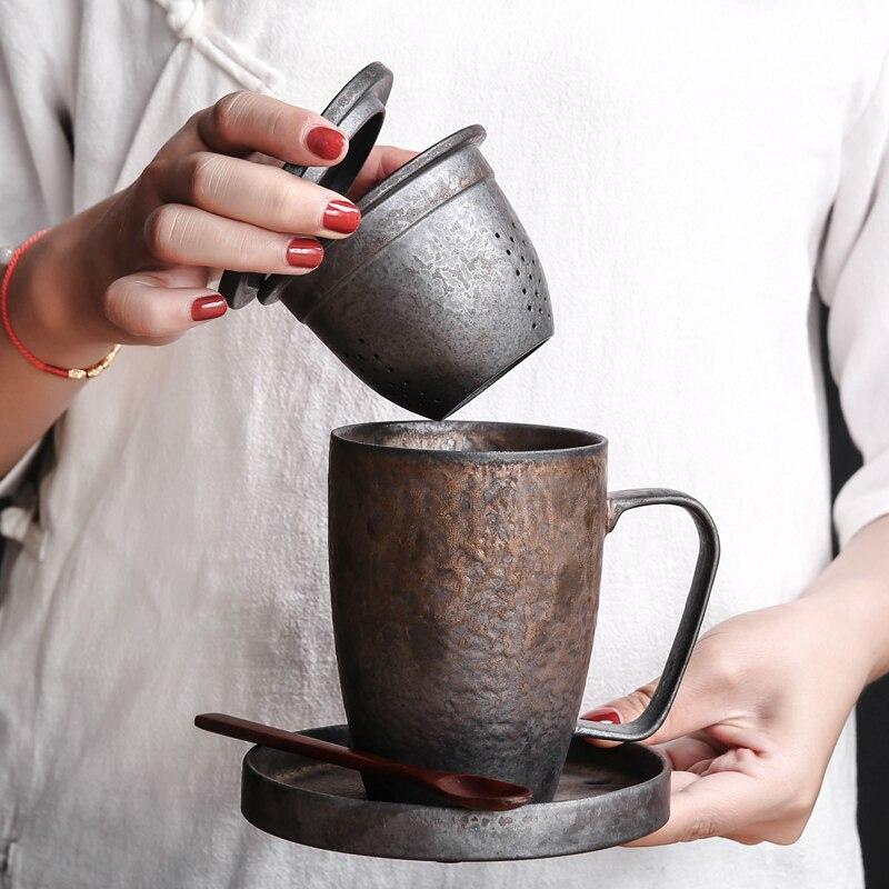 Creativo manuale forno di ceramica tazza di bolla tazza con coppa del filtro di copertura ufficio tazza tazza di bevanda