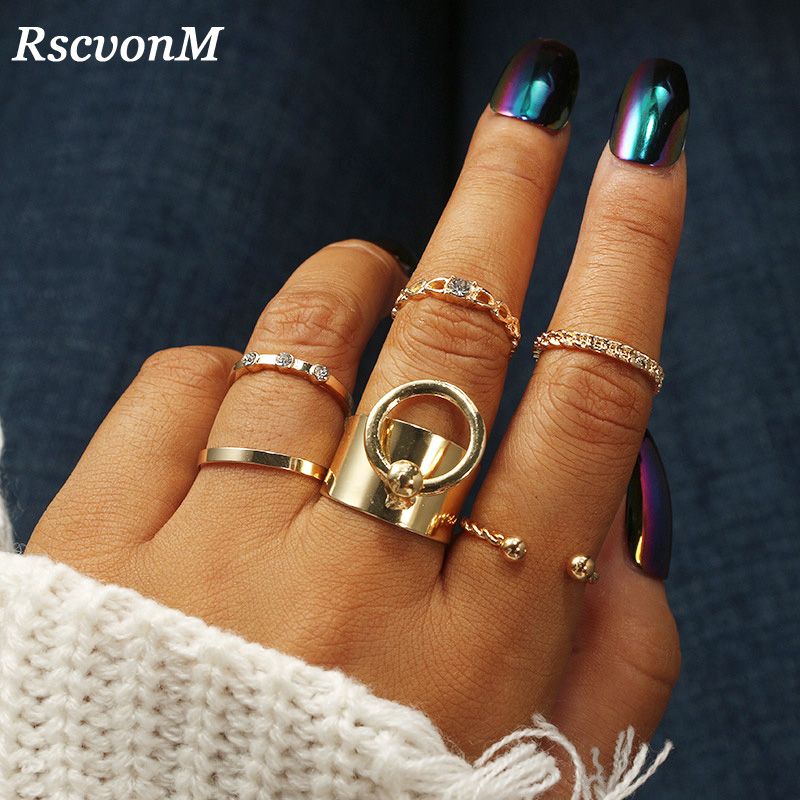 Zinc Alloy Gold Color Ring Set for 5pcs Fashion Girls Gift Jewelry Bijoux Europe Popular Style Ring Sets Stackable Rings 6pcs