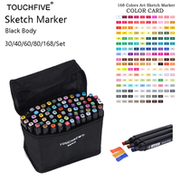 Touchfive 168 Colors Set Alcohol Double Headed Copic Sketch Marker For School Drawing Marker Animation Design