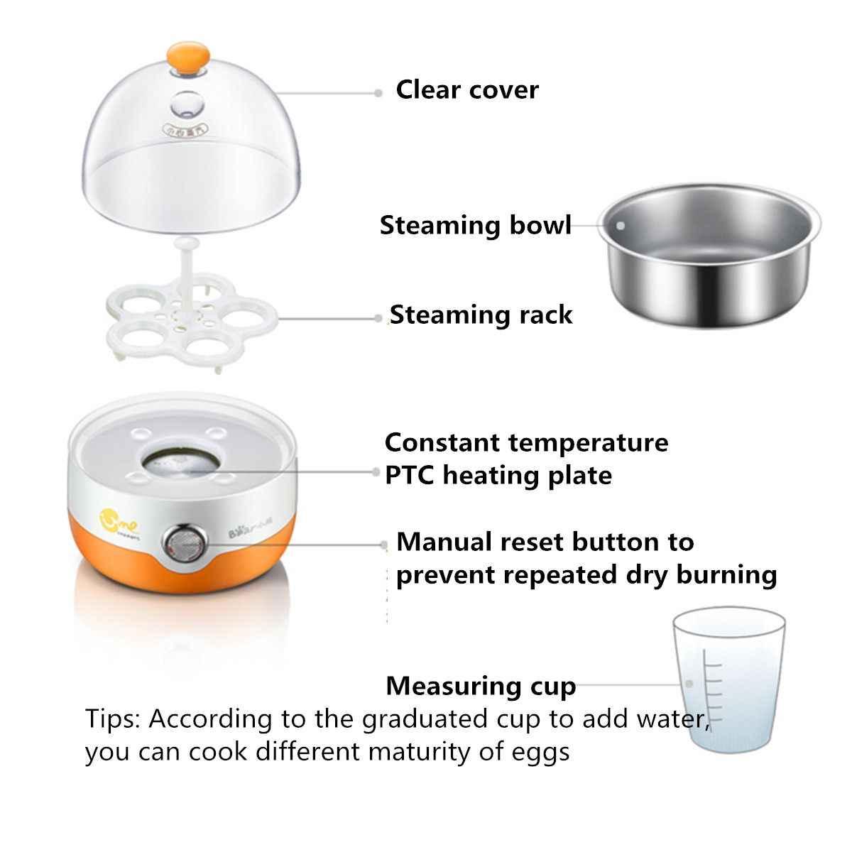متعددة الوظائف الكهربائية 5 البيض المرجل طباخ الى Teel المقاوم للصدأ التلقائي انقطاع التيار الكهربائي البسيطة الباخرة صياد مطبخ الطبخ أداة 220 v