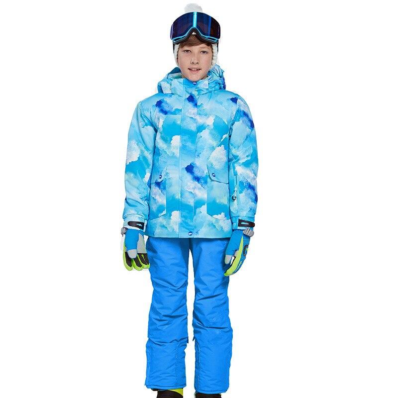 2019 hiver Ski costumes pour garçon extérieur à capuche imperméable enfants Ski ensembles vestes salopette Snowboard vêtements Sport porter