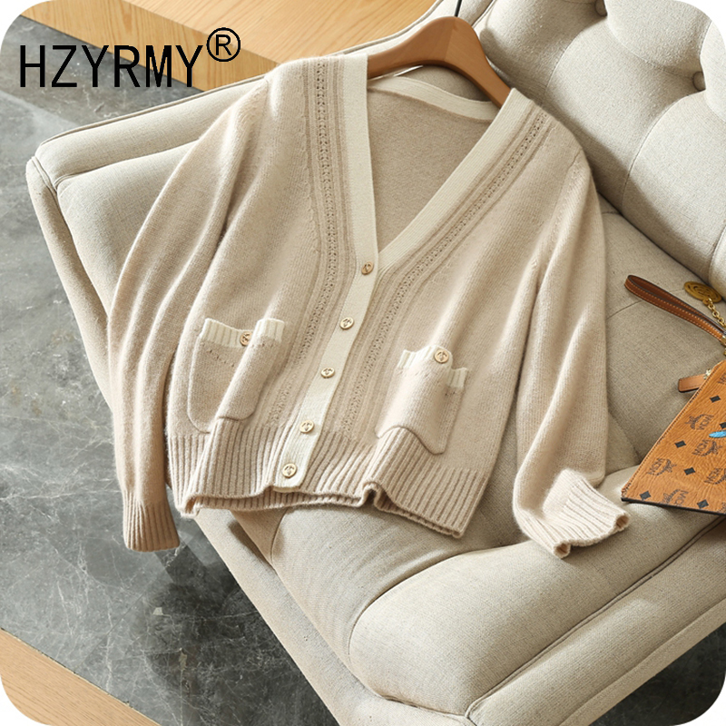 HZYRMY 2018 Spring and Autumn New Women's Cashmere Cardigan Fashion V-Neck Short Spell color Jacket Loose Wool Knit Pocket Shirt