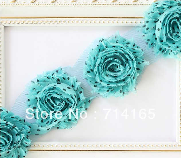 1yard DIY shabby flower Chiffon Flower Shabby Rose Trim for baby/infant/ toddler hair flower/headband/shoes(057)
