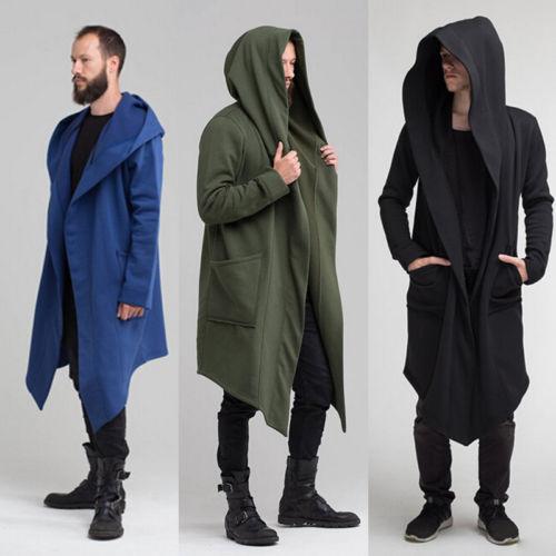 2018 Autumn Men Long Coat Fashion Style Long Sleeve Male Cardigan Loose Casual Winter Hooded Wool Coats