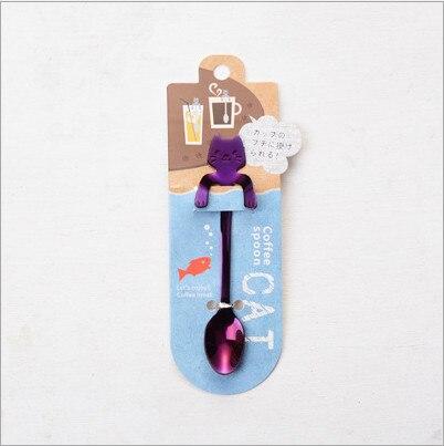 Кофейная и чайная ложка мини-кошка с длинной ручкой креативная ложка для питья пищевая кухонная посуда из нержавеющей стали - Цвет: Purple