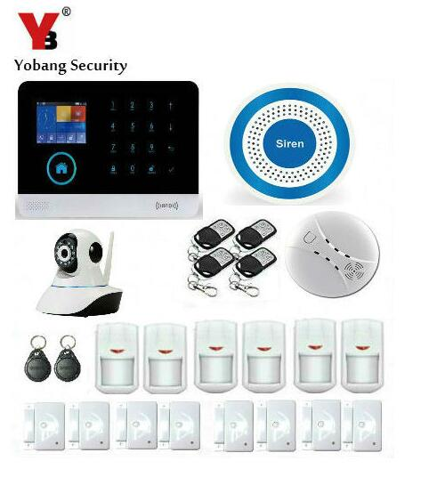 YoBang Security 3G WCDMA/CDMA WIFI GPRS Intruder Burglar Alarm System With Wireless Alert Network IP Camera Smoke Detector.
