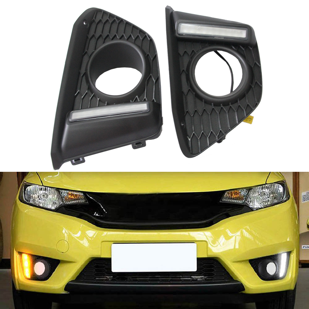 High Bright 12v LED Daytime Running Light Car Styling DRL Fog Lamp for Honda Fit 2014- up with Blink Turn Signal Light ключ накидной 12 гранный force f 759