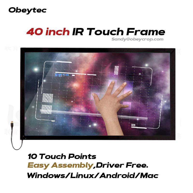 Obeytec 40 IR Touch Frame Overlay, 10 Touches, Easy assembly, Highly Competible for windows/ Android/ Linux/MAC