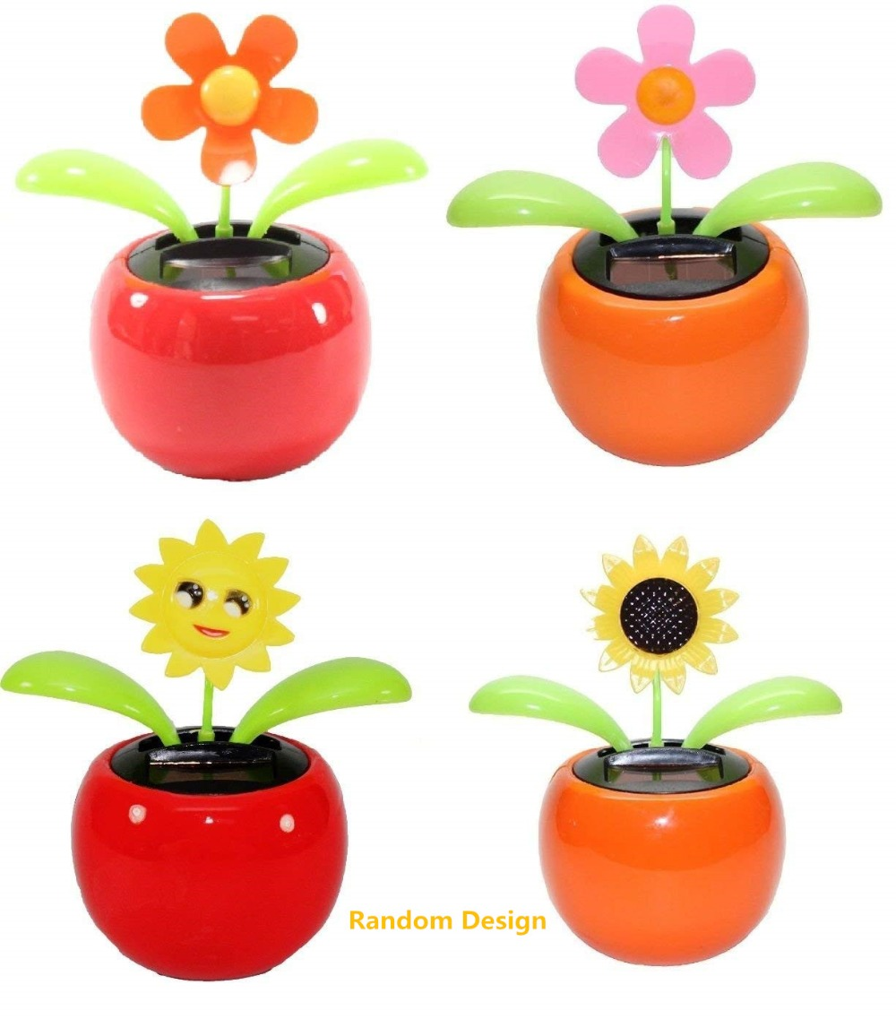 New Solar Powered Flip Flap Dancing Flower For Car Decor Automatic Dancing Flower Toy Gift-4PCS/Pack