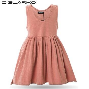 Cielarko fille coton robe été école basique enfants vêtements robes sans manches solide enfants classique coton robe avec poche