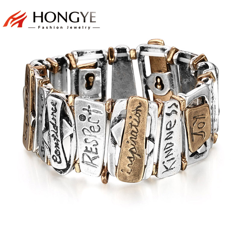 HONGYE Classic Trendy Jewelry Geometric Chunky Letter Carvins
