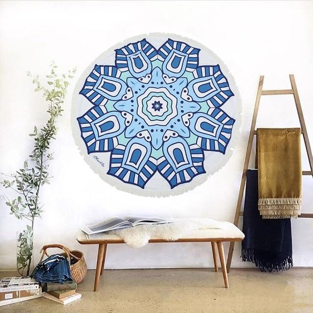 Mandala Indian Tapestry Round Mat Wall Hanging Towel Beach Fl Picnic Blanket Throw Rug