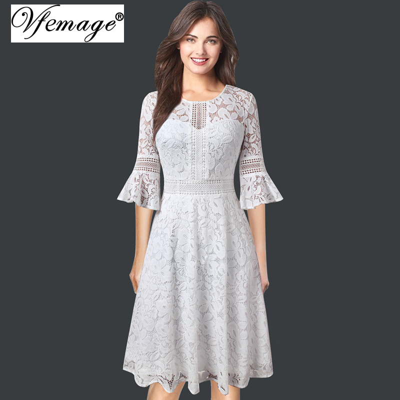 09f83313bf Vfemage Women Vintage Retro Full Floral Lace 3 4 Flare Bell Sleeve Contrast  Cocktail Wedding