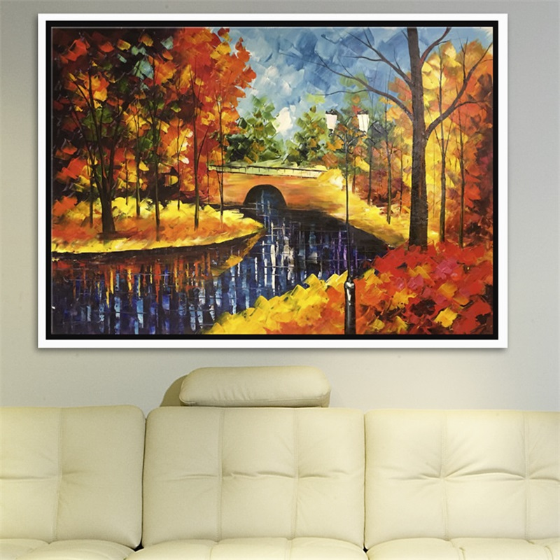 Hand Painted Beautiful Landscape Oil Paintings Modern Abstract River Landscape Wall Art Unframed Scenery Knife Canvas Paintings