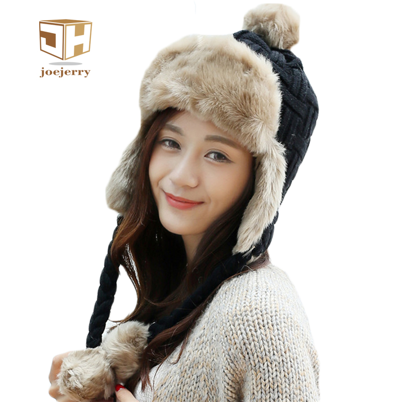 18567648a7e MZ248 Women Winter Hat Solid Black Grey White Ladies Bomber Hats Caps Warm  Russian Ushanka Hats ...