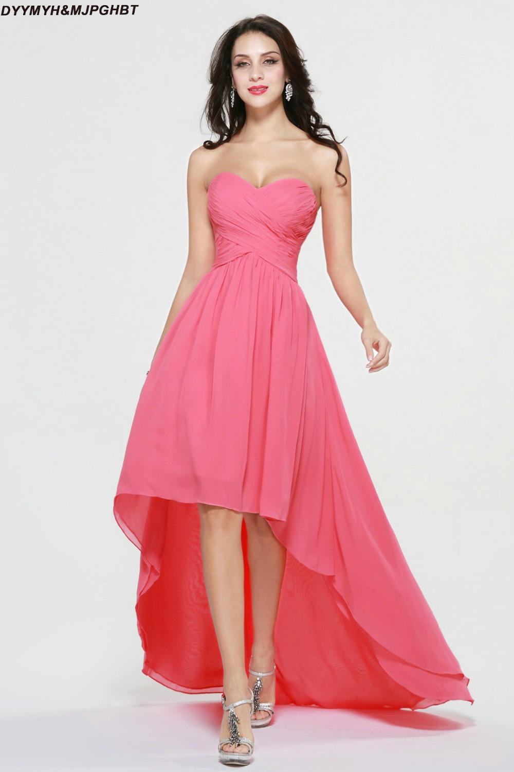 Compare prices on hot pink bridesmaid online shoppingbuy low fashionable short front and long back sweetheart pleat top asymmetrical hot pink bridesmaid dresseschina ombrellifo Gallery