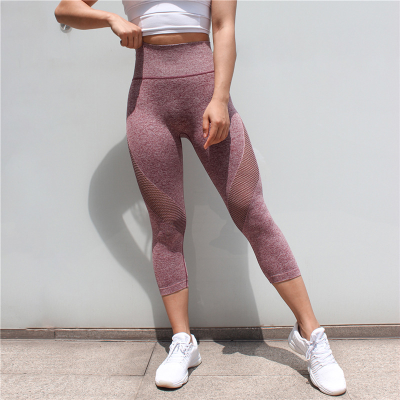 2018 New Running Tights Women Sports Leggings Fitness Women Skinny Leggings Patchwork Mesh Yoga Leggings Fitness Sports Pants