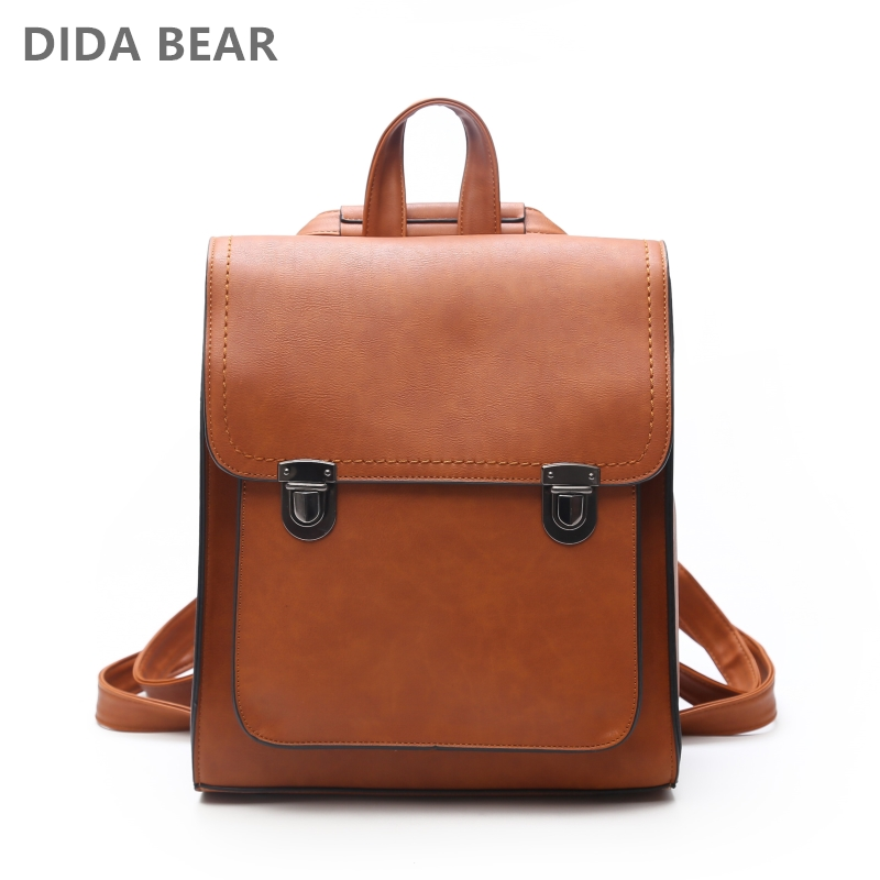DIDA BEAR Women Backpack Women's PU Leather Backpacks School Bag For Teenagers Girls New Fashion Backpack Travel Shoulder Bags