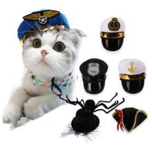 Dogs make funny hats Pet Photo artifact Cat poses for a prop head hat Halloween  Pirates Sailor Captain cap