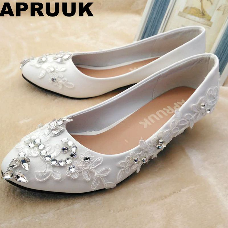 Bridal Shoes Silver: Silver Crystal Rhinestones Wedding Shoes Bride White Lace